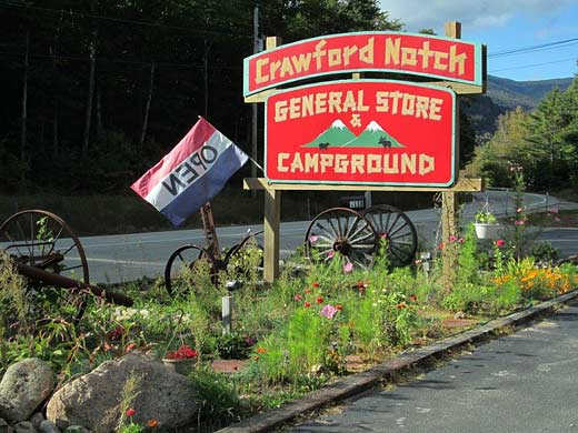 Crawford Notch Campground General Store Road Sign